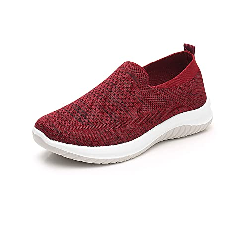 Zapatos ortopédicos transpirables para mujer, para caminar, informales, deportivos, tenis y tenis antideslizantes (vino tinto, 39)