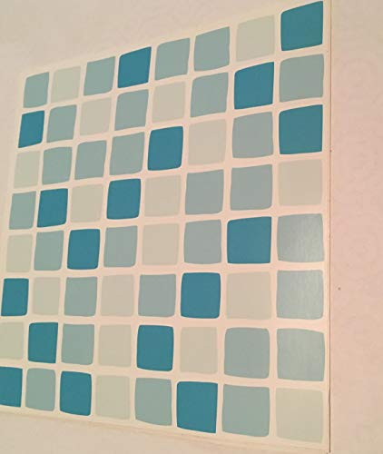 TURQUOISE BLUE Mosaic tile transfers stickers . quickly transform your bathroom or kitchen wall tiles, self adhesive, quick and mess free by paper theme