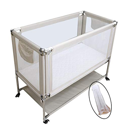 Fantastic Deal! XJJUN Cots Mosquito net Splicing Bed Heightening Fence Universal Wheel Mute Lifting ...