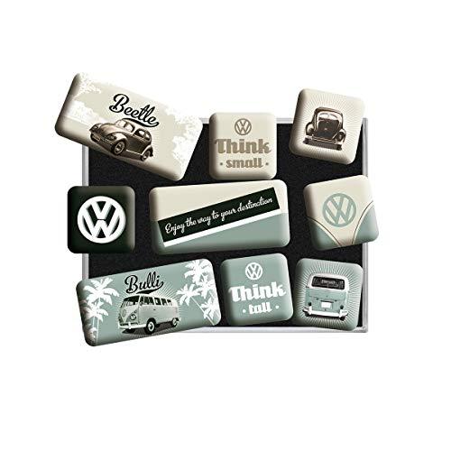 Nostalgic Art Magnet-Set 9-teilig, Magnetset für Magnettafel, Volkswagen - Bulli & Beetle - Think Tall & Small, 9 Stück