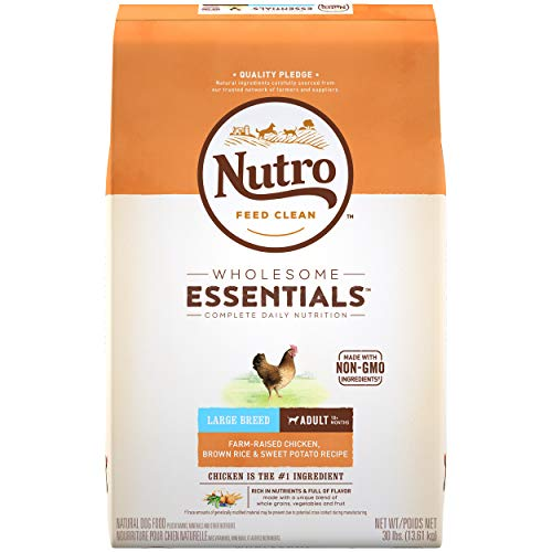 NUTRO WHOLESOME ESSENTIALS Natural Adult Large Breed Dry Dog Food Farm-Raised Chicken, Brown Rice &...