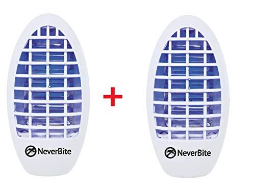Never Bite Anti-muggenlamp, 2 stuks, voor het stopcontact, effectieve oplossing tegen muggen en vliegen zonder chemicaliën