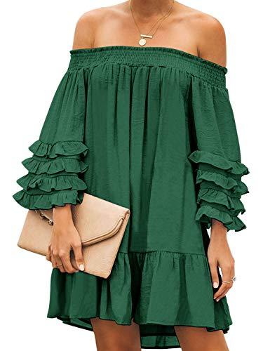 ZANZEA Damska sukienka mini z długim rękawem z falbanką, elegancka bluzka na imprezę