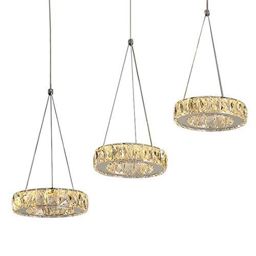 Modern Kronleuchter Pendelleuchte Kristall LED Esszimmer Lampe Höhenverstellbar Vintage 3-Ring Kreativ Deckenleuchte Wohnzimmer Esstisch Schlafzimmer Büro Hängelampe Beleuchtung (Rechteck, Warmlicht)