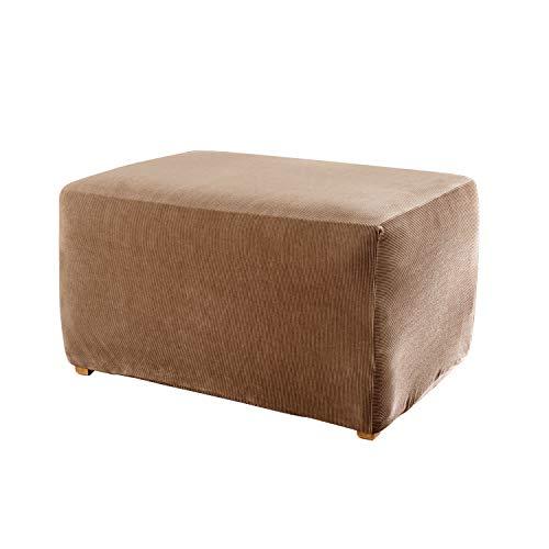 Surefit Home Décor Stripe Box Cushion Ottom Slipcover, Stretch Form Fit, Polyester/Spandex, Machine Washable, Ottoman, brown