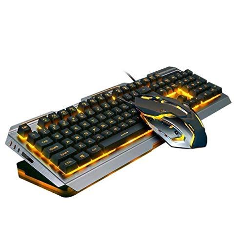 Ninja Dragon Premium Metal Frame Tungsten Gold Mechanical Gaming Keyboard and Mouse Set