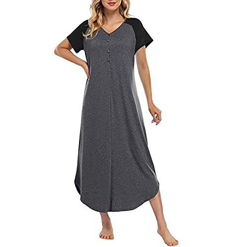 osmanthus Womens Classic Timeless Night Falda con Cuello en V Softwear Homewear Nightgown Soft Cómodo Casual Suelto Sueño Sueño Pijamas