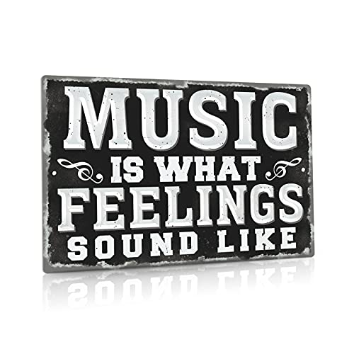 Putuo Decor Metal Vintage Music Sign, Retro Wall Decor for Coffee Bar, Man Cave, Garage, 12x8 Inches Aluminum Sign (Music Is What Feelings Sound Like)