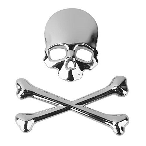 B Blesiya 3D Metal Skull CrossBones Emblem Coche Camión Motor Calcomanía Insignia Etiqueta - Plata