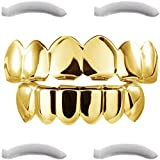 Grillz placcato in oro 24K per bocca set denti Hip Hop superiore inferiore + 2 barre di modellatura extra