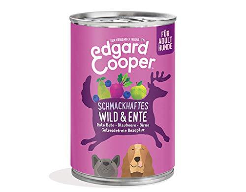 Edgard Cooper natürliches Premium Nassfutter für Adult Hunde in Dosen - 6 x 400g - Wild & Ente - getreidefrei
