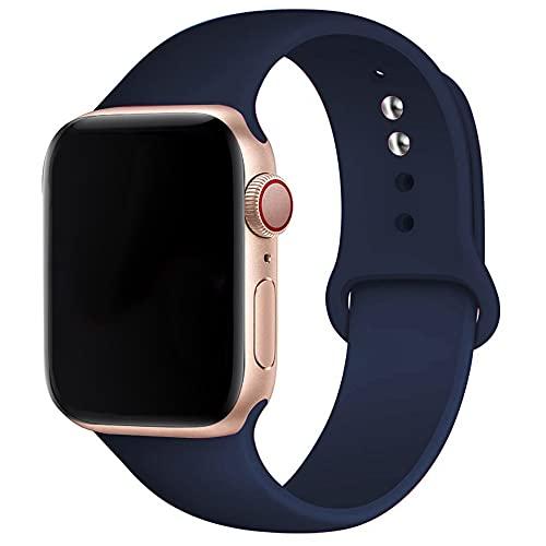 Hspcam - Cinturino in silicone morbido per Apple Watch Series 6, 5, 4, 3, 2, 1, 38 mm, 42 mm, cinturino in gomma per iWatch SE 6/5, 40 mm, 44 mm, 42 mm, 44 mm, colore: blu notte