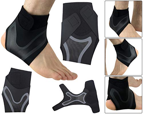 Elastic Ankle Brace Support Adjustable Heel Protector Compression For Gym Basketball Sports Foot Safety and Pain Relief - Right - Medium