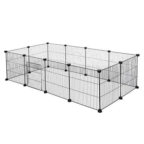 EUGAD Recinto para Cobayas Parque para Conejos Vallas para Conejos Jaula para Mascotas Hámster Gatito Cachorros Metálica con Puerta DIY 12 Paneles Negro 142 x 72 x 36 cm 0007WL