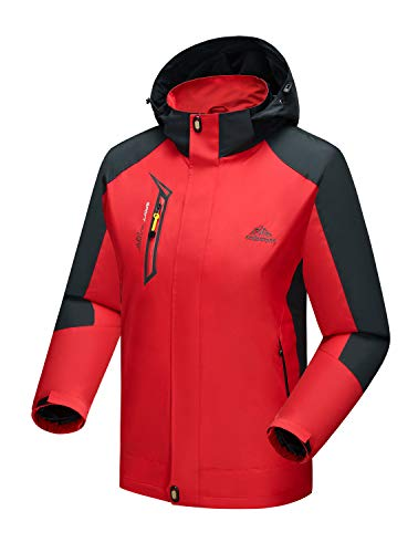 TBMPOY Men's Active Performance Full Zip Jacket Autumn Running Climbing Military Jacket Outwear(red,us L)