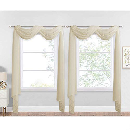 NICETOWN Beige Window Scarf Valances, Voile Fabric Sheer Scarf for Draping, Party Scarf Curtains for Birthday/Revelry, Beige, W60 x L216, 2 Panels
