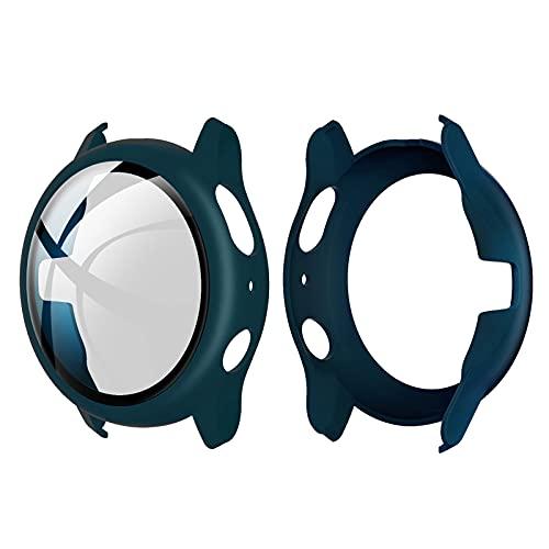 Romacci Capa de PC rígido com protetor de tela de vidro temperado Capa protetora completa Substituição do escudo do pára-choque fino e transparente para Samsung Galaxy Watch Active 2 40mm Dai Cyan
