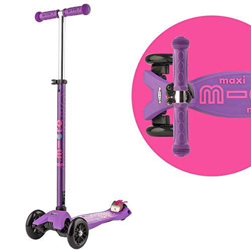 Micro Maxi Deluxe 3-Wheeled, Lean-to-Steer, Swiss-Designed Micro Scooter for Kids, Ages 5-12 - Purple