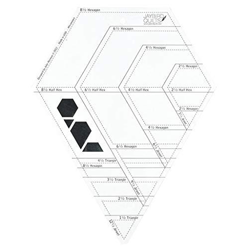 Xiaoyao24 Transparente Hexagonal en Forma de Diamante Patchwork Ruled Plantilla Herramienta de Diamante Hexágono Forma Transparente Patchwork de Costura de Corte de Artesanía Regla DIY Herramientas