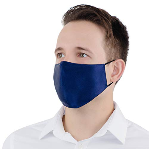Mulberry Silk Face Mask Reusable - Women & Men, 10 Filters Included, Washable Navy Blue