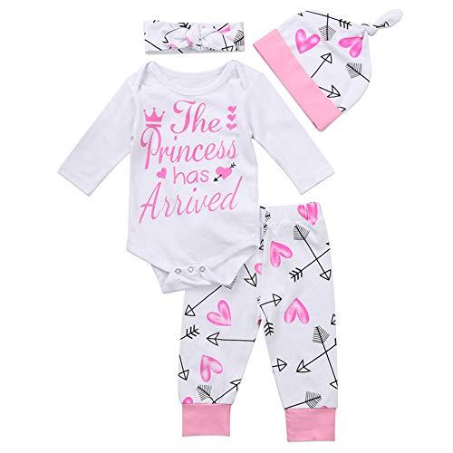 Geagodelia Babykleidung Set Baby Mädchen Kleidung Outfit Langarm Body Strampler + Hose + Stirnband/Mütze Neugeborene Weiche Babyset T-19829 (Princess Has Arrived - Weiß, 3-6 Monate)
