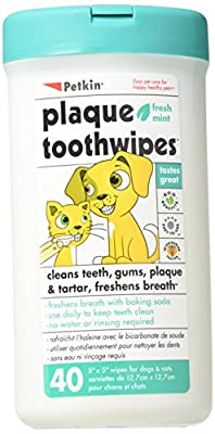 40 Tooth Wipes. Dog Tooth and Gum Cleanser for Cleaner Teeth and Fresh Breath. from Petkin