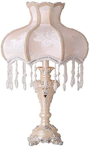 Lámpara de mesa tradicional Ivory Bell Shade Decor Luz de cama Luz de noche Iluminación para la noche para dormir dormitorio Sala de estar Sala de