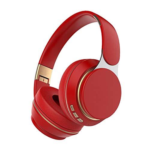 B Blesiya Auriculares con cancelación de Ruido con Cable/inalámbrico Bluetooth Auriculares Plegables con micrófono para Ordenador TV - Rojo