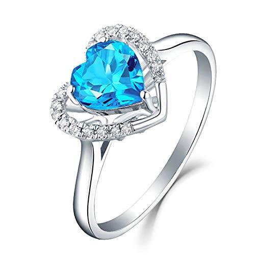Bishilin Alianzas de Boda para Mujer 750 Reales Corazón de Diamante con Topacio 0.94Ct Anillos de Compromiso Y Alianza de Boda Oro Blanco Ajuste Cómodo Boda de Aniversario Tamaño:9,5