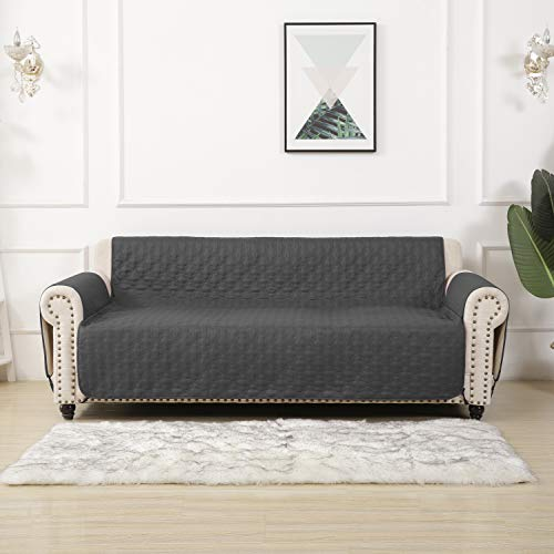RBSC Home Sofa Slipcovers for Leather Loveseat 100% Waterproof Quilted Thick and Long Enough to Cover The Footrest Part, Premium Couch Covers for Dogs, Cats and Kids (54' Loveseat, Darkgray)