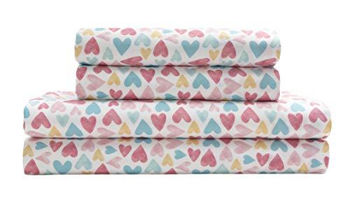 Elite Home Microfiber Watercolor Hearts Sheet Set, Queen Pink Hearts