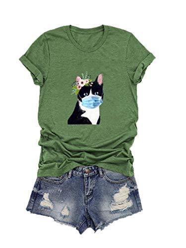 SLYZ Ladies Summer New Cute Cat Print Camiseta De Manga Corta De Talla Grande para Mujer Top