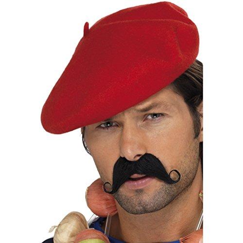 NET TOYS Beret Baskenmütze rot Basken Barett Franzosen Mütze Franzosen Mütze Barette Kopfbedeckung Karnevalskostüme Accessoires