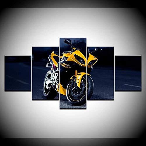 GZSBYJSWZ Lienzo Moderno Pintura HD Impresión de imágenes de Arte de Pared 5 Piezas Deportes Motocicleta Racing Poster Sala de Estar Decoración del hogar Sin marco-30x40_30x60_30x80cm