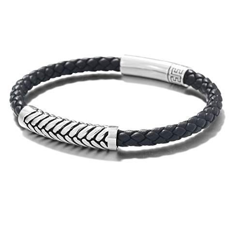 FANCIME Footmark 925 Sterling Silver Herringbone Pattern Genuine Mens Leather Bracelet Braided Rope Spiritual Energy Charm with Push Button Locking Clasp - Black- 8 INCH