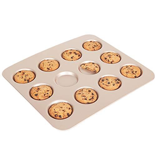 CANDeal Supreach Forme Ronde Cookie Biscuits Plaque whoopies Plaque de Cuisson, 12 cavité, antiadhési