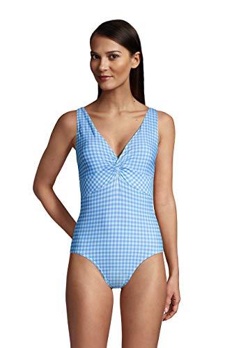 Lands' End Womens Chlorine Resistant V-Neck Twist Front One Piece Swimsuit Control Paradise Aqua Gingham Long Torso
