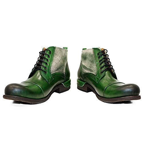 PeppeShoes Modello Pescara - EU 42 - US 9 - UK 8-27 cm - Handgemachtes Italienisch Bunte Herrenschuhe Lederschuhe Herren Grün Stiefel Stiefeletten - Rindsleder Handgemalte Leder - Schnüren