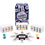 Regal Games Double 12 Colored Number Dominoes Mexican Train Game Set with Plastic Hub, 91 Numbered Domino Tiles, 4 Plastic Trains, and Collectors Tin