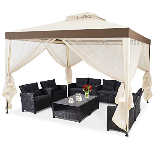 HAPPYGRILL 10x10FT Patio Canopy Gazebo with Double Tiered Roof, Outdoor Tent Shelter Garden Party Tent with Steel Frame & Removable Mesh Side Walls Net for Patio Lawn or Deck