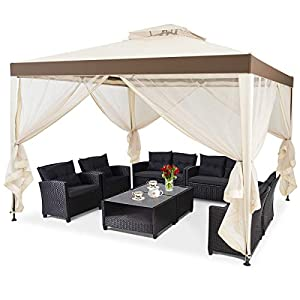 COSTWAY 3m x 3m Two Tier Roof Gazebo Canopy Tent