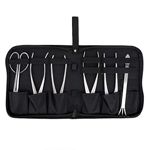 Juego de herramientas para bonsái, 6 piezas de acero inoxidable para plantas de jardín de bonsái, tijeras para árboles, juego de herramientas de corte con bolsa de almacenamiento, herramientas para pl