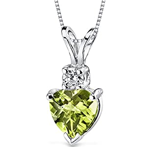 Peridot Heart 14 Karat White Gold Diamond Pendant Necklace