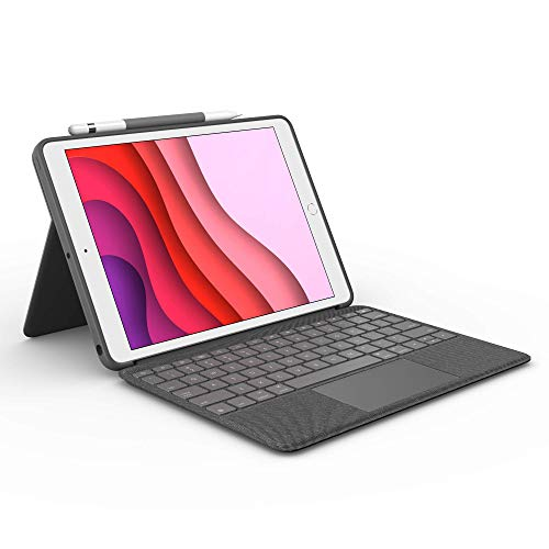 Logitech Combo Touch for iPad (7th Generation) Keyboard case with trackpad, Wireless Keyboard, and Smart Connector Technology – Graphite