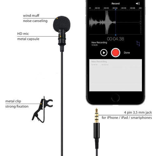 Jouxy KW863 Digital Microphone with Noise Cancellation Clip Collar Mic Used for You-Tube Video's | Interviews | Seminar | Lectures | Speach | Travel Video's Mic Compatible with All Mobile (Black)