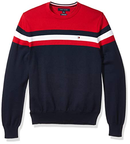 Tommy Hilfiger Men's Stripe Crewneck Sweater, Apple Red/Navy Blazer, MD