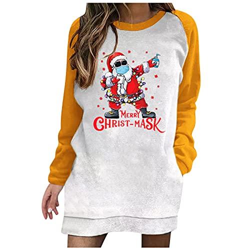 BIKETAFUWY Vestido de Navidad para mujer con estampado de renos Ugly, vestido de manga larga, jersey de Navidad, con capucha, vestido de bolsillo, Amarillo n. 8., M