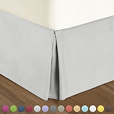 "Nestl Bedding Pleated Bed Skirt - Luxury Microfiber Dust Ruffle, 14"" Tailored Drop, Queen, Silver"