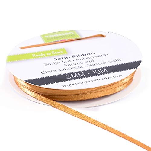 Vaessen Creative 301002-0021 Satinband Hellbraun, 3 mm x 10 Meter, Schleifenband, Dekoband, Geschenkband und Stoffband für Hochzeit, Taufe und Geburtstagsgeschenke, Gold, 3MM