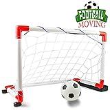 Nuheby Cage de Foot Porte Musique Mobile Jouet Extérieur Intérieur, But de Foot Pliable Portable Enfants avec Mini Football et Pompe pour Garçons Filles 3 4 5 Ans